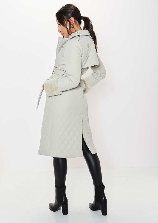 Longline Lapel Quilted Waist Belted Long Trench Coat Beige