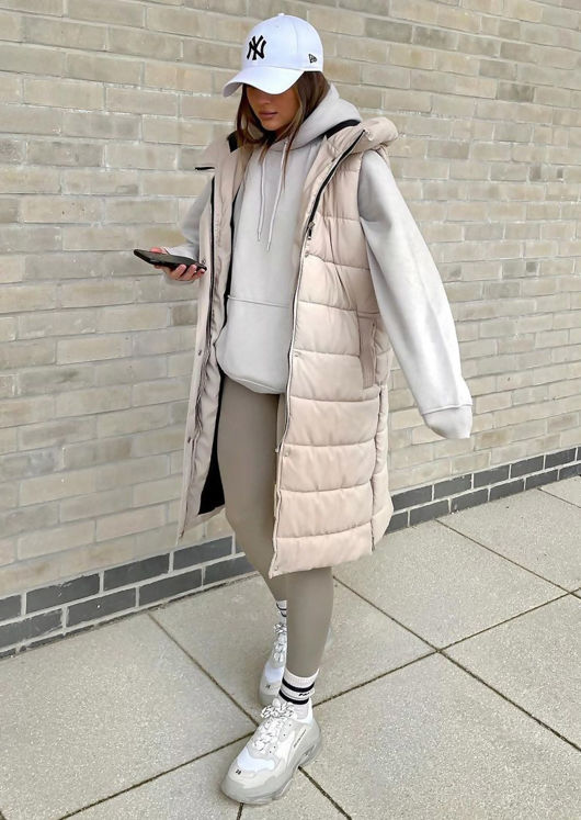 Longline Panelled Hooded Sleeveless Puffer Gilet Beige