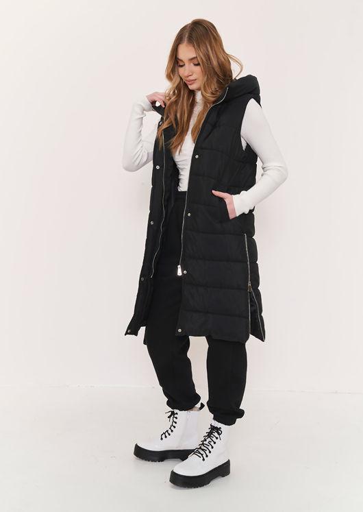 Longline Panelled Hooded Sleeveless Puffer Gilet Black