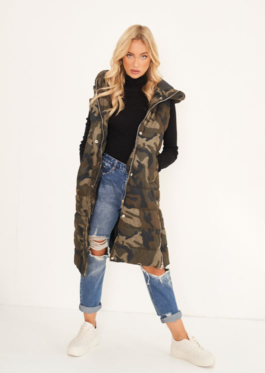 Longline Panelled Hooded Sleeveless Puffer Gilet Camouflage Green