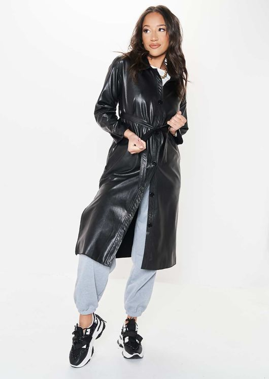 Faux Leather Longline Pu Belted Side Split Shacket Jacket Black