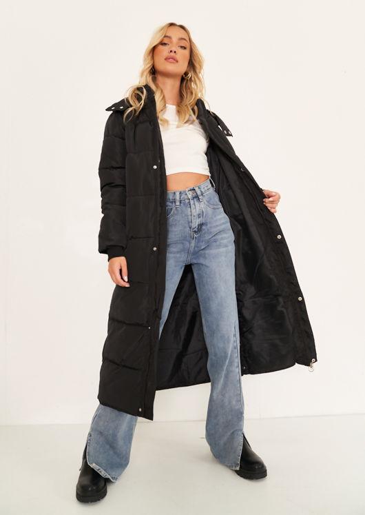Oversized Longline Side Split Hooded Panelled Puffer Coat Black