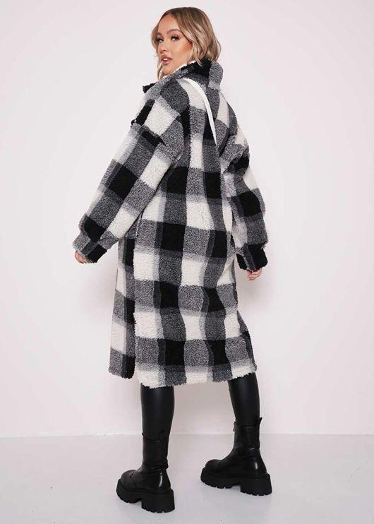 Longline Teddy Borg Checked Long Sleeve Shacket Coat Black