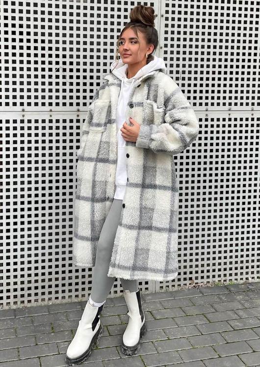 Longline Teddy Borg Checked Long Sleeve Shacket Coat Grey