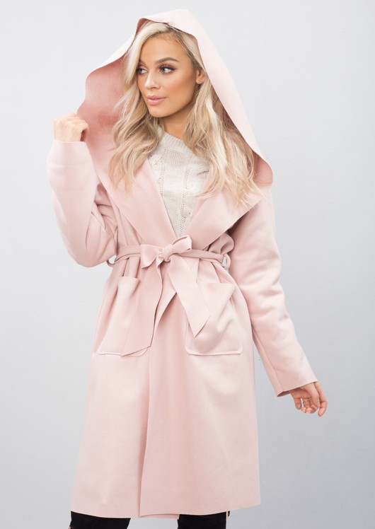 Longline  Waterfall Tie Waist Hooded Jacket Coat Pink