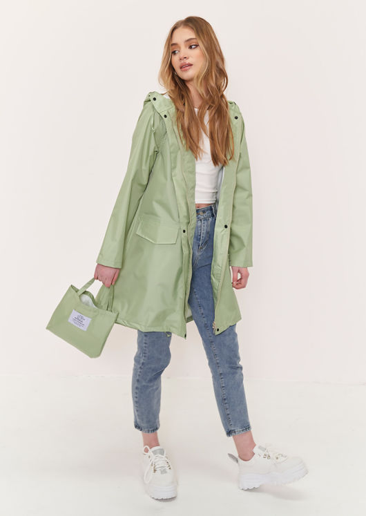 Oversized Longline Waterproof Rain Mac Coat Green