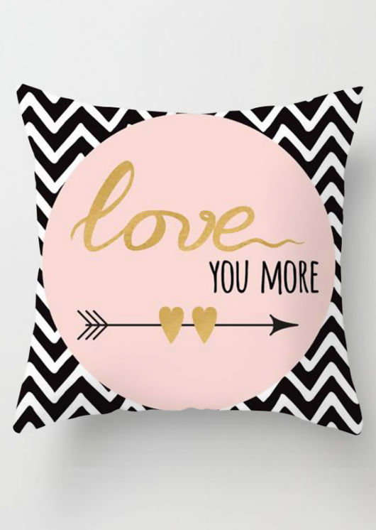 Love You More Printed Square Cushion Cover White