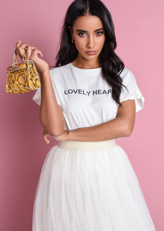 Lovely Heart Boxy Slogan T-Shirt White