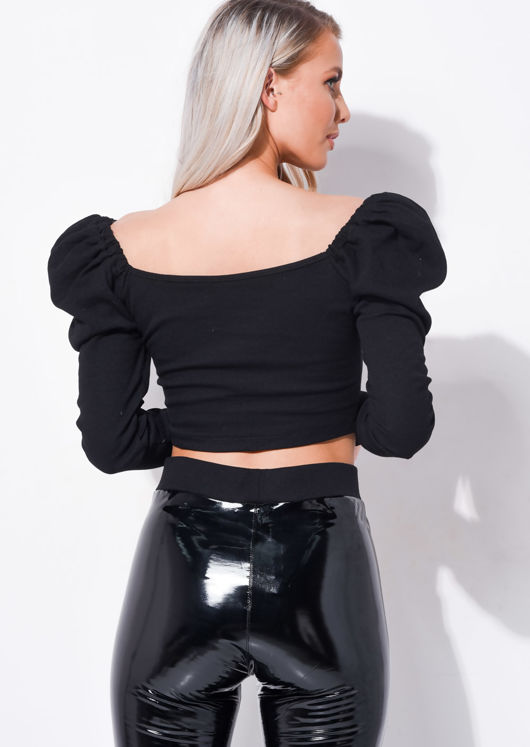 Square Neck Puff Long Sleeve Crop Top Black