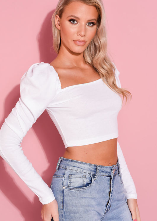 Square Neck Puff Long Sleeve Crop Top White