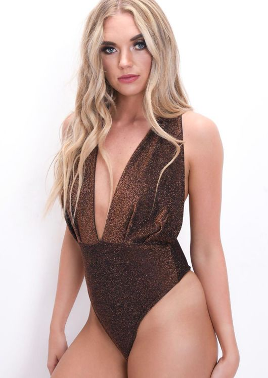Lurex Deep V Halterneck Bodysuit Metallic Bronze Gold
