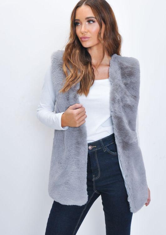 Luxe Faux Fur Longline Gilet Grey