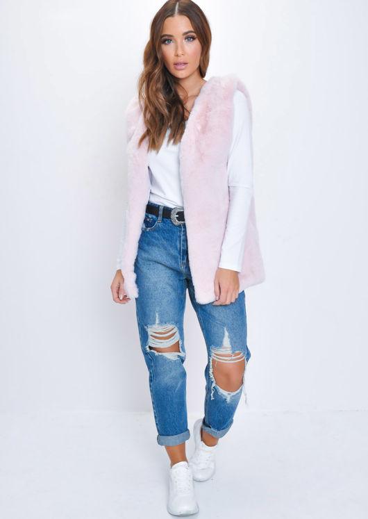 Luxe Faux Fur Longline Gilet Baby Pink