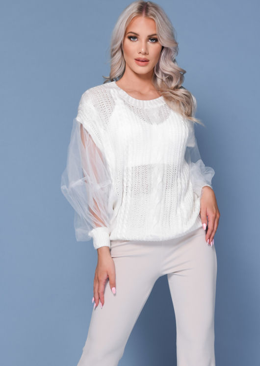 Mesh Insert Puff Sleeve Cabled knitted Jumper White