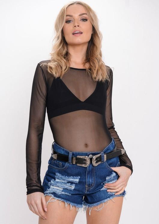 Mesh Long Sleeve Bodysuit Triangle Bralet Black