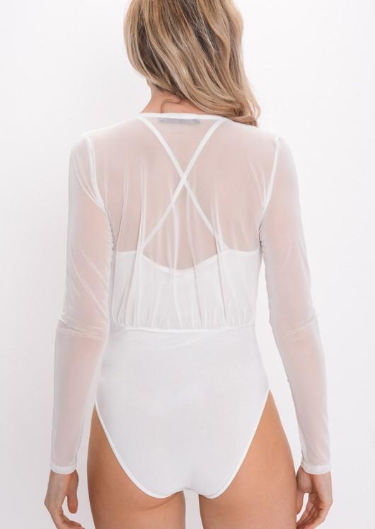Mesh Plunge Front Bodysuit White