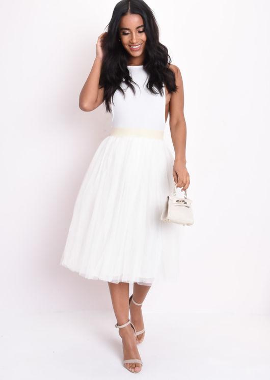 Mesh Tulle Midi Skirt Cream