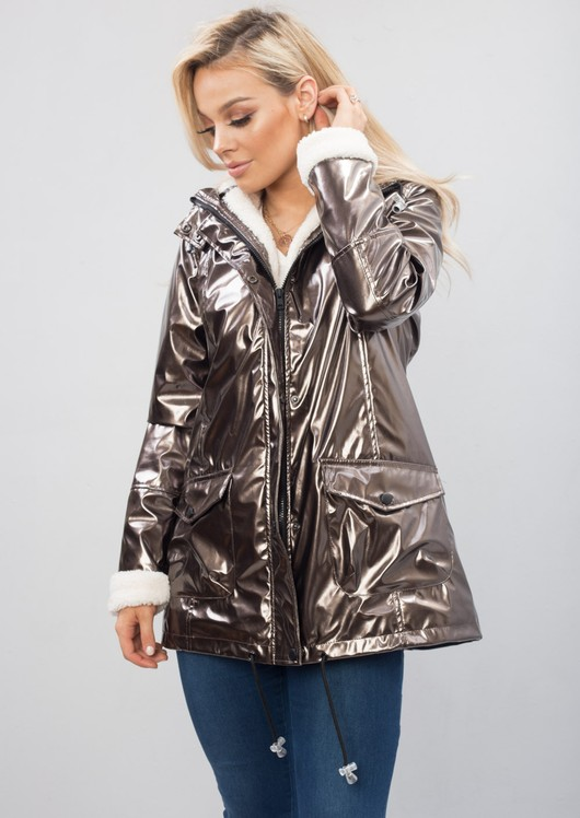 Metallic Rain Mac With Borg Lining Bronze