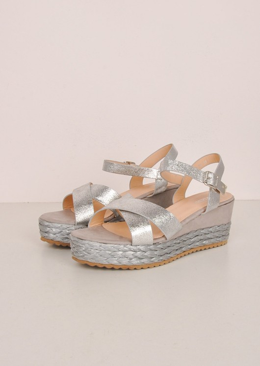 Metallic Cross Front Espadrille Wedge Sandals Silver