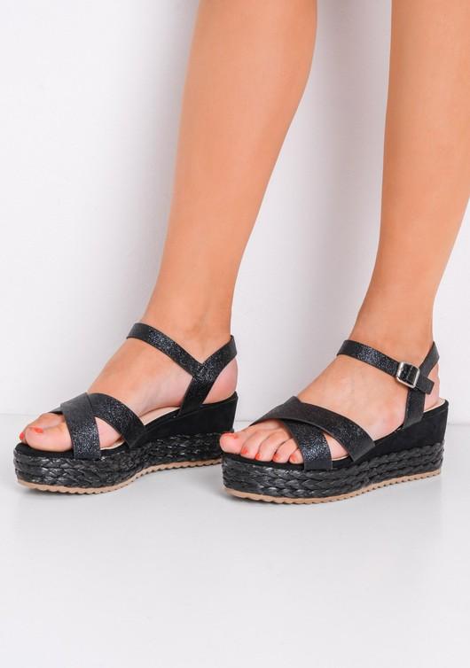 Metallic Cross Front Espadrille Wedge Sandals Black