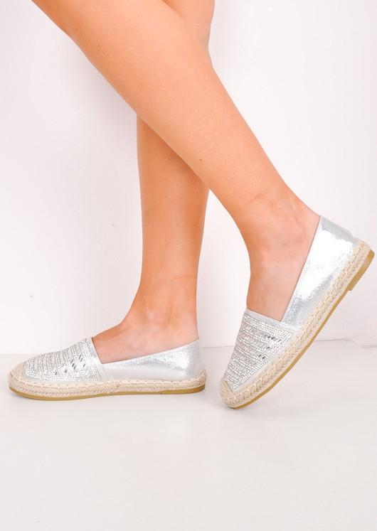 Metallic Diamante Embellished Flat Espadrilles Silver