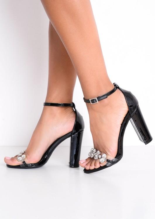 Metallic Embellished Perspex Strap Heeled Sandals Black