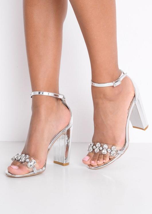 cb03302cb50 Metallic Embellished Perspex Strap Heeled Sandals Silver