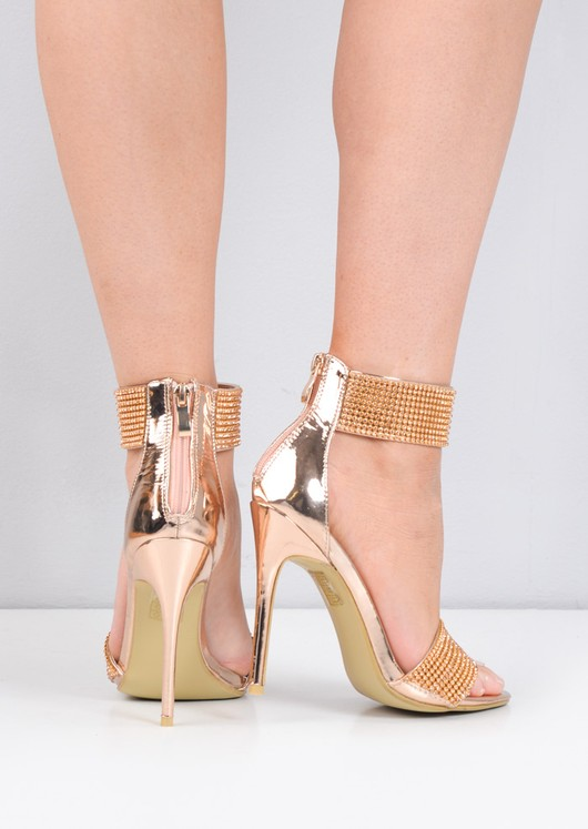 Diamante Embellished Ankle Strap Heels Rose Gold