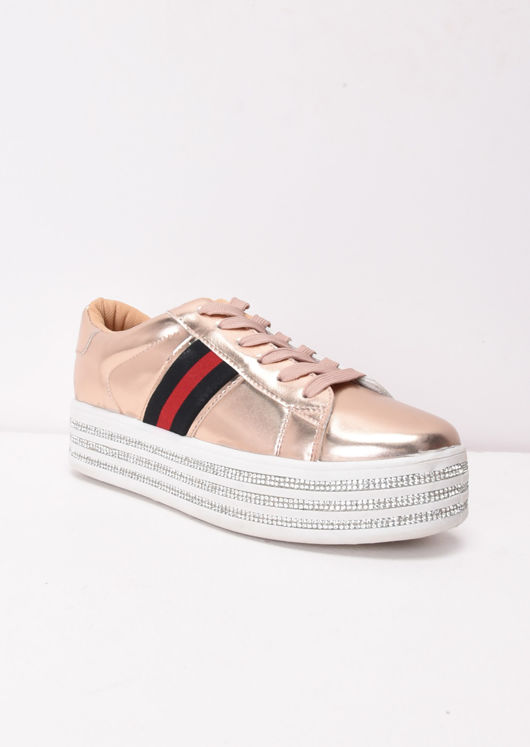 cda10a964530 Metallic Flatform Lace Up Trainers Rose Gold