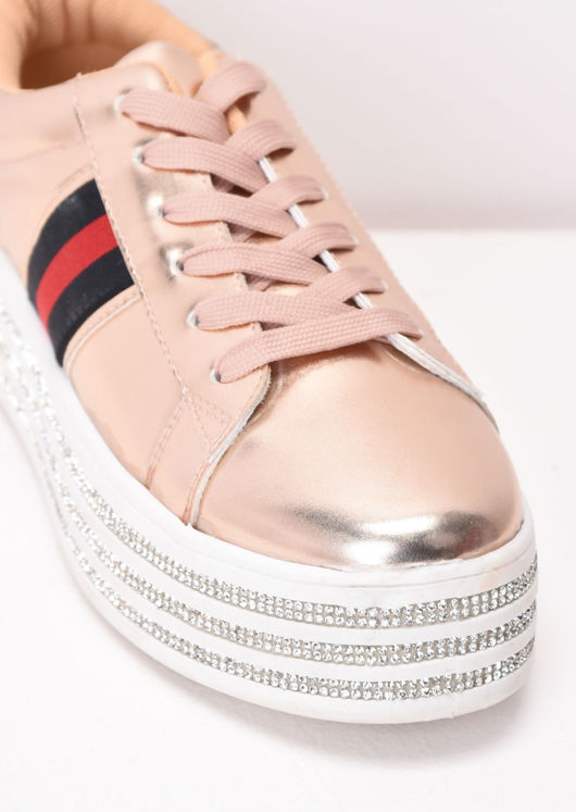 Metallic Flatform Lace Up Trainers Rose Gold