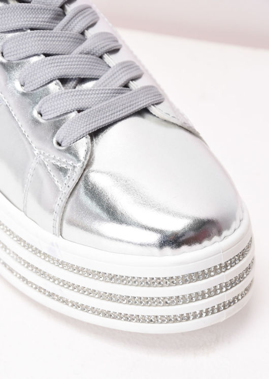 Metallic Flatform Lace Up Trainers