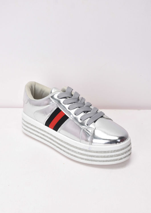 Metallic Flatform Lace Up Trainers Silver