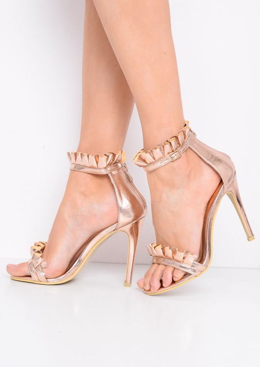 Metallic Frill Strappy Stiletto Heeled Sandals Rose Gold