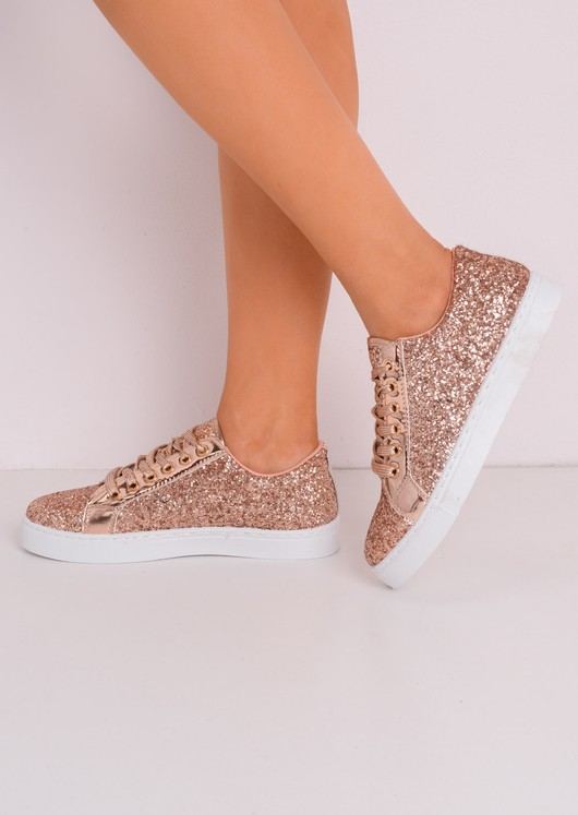 Metallic Glitter Lace Up Trainers Rose Gold