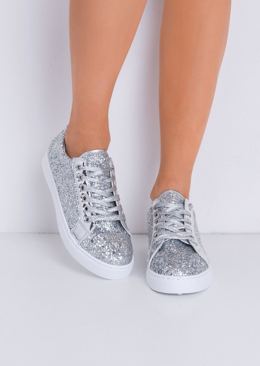 097b246232ef Metallic Glitter Lace Up Trainers Silver | Women's Shoes & Trainers