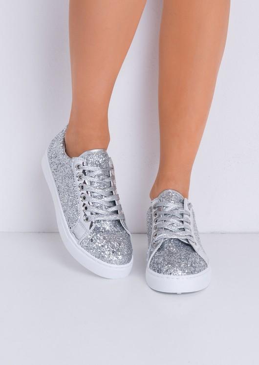 Metallic Glitter Lace Up Trainers