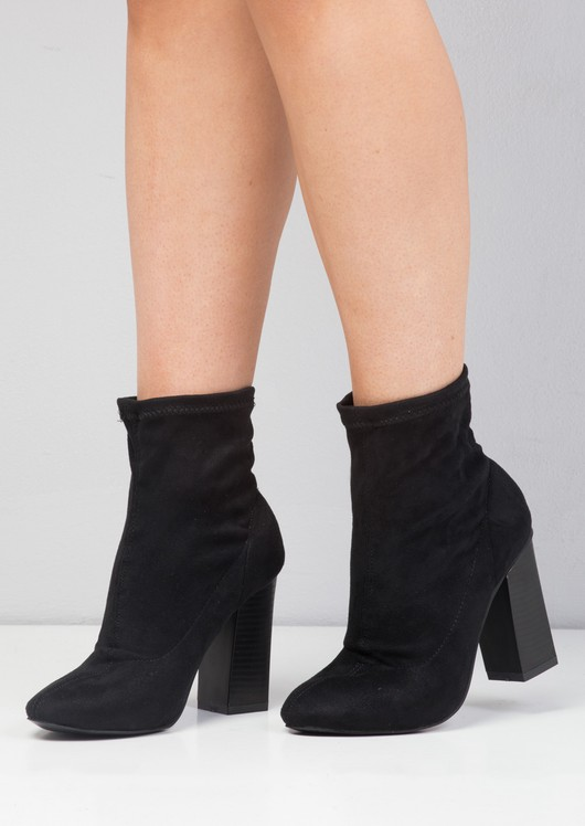 Faux Suede Stretch Sock Ankle Boot Black