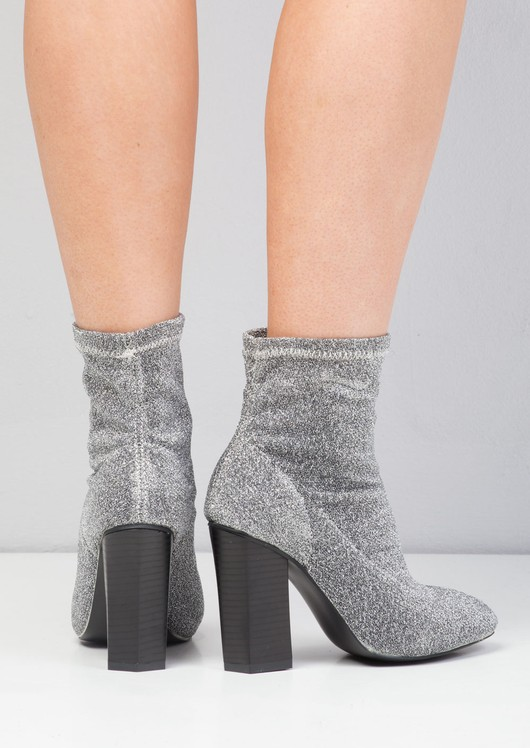 Metallic Glitter Stretch Sock Ankle Boot Silver