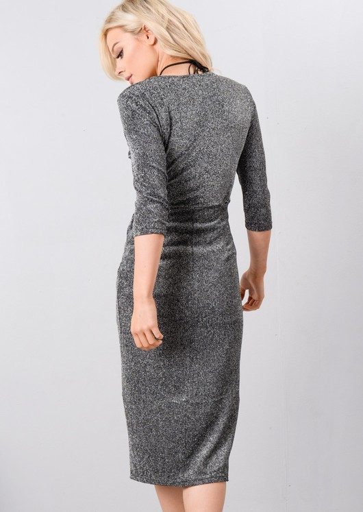 Metallic Glitter Wrap Over Midi Dress Black