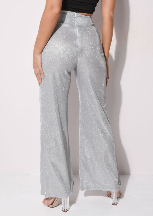 Metallic High Waisted Wide Leg Palazzo Trousers Silver