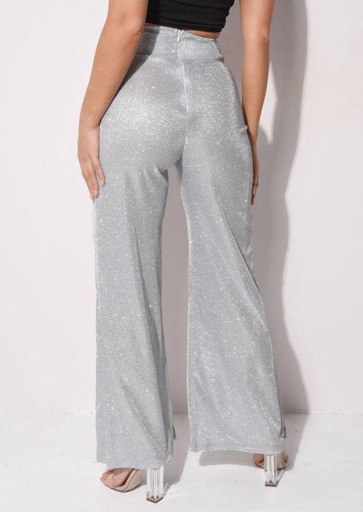 Metallic High Waisted Wide Leg Palazzo Trousers Silver
