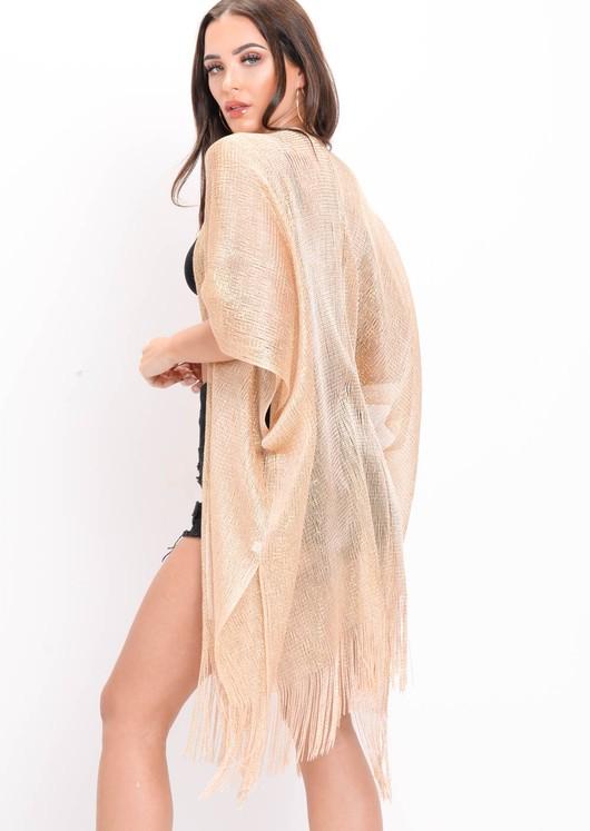 Metallic Knitted Batwing Sleeve Kimono Gold