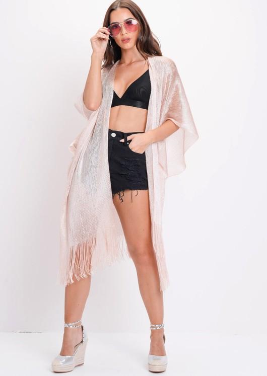 Metallic Knitted Batwing Sleeve Kimono Pink
