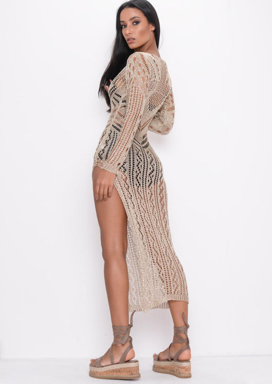 Metallic Knitted Side Split Maxi Dress Gold
