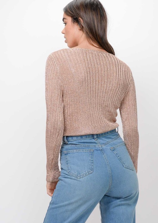 Metallic Knitted Twist Front Jumper Rose Gold