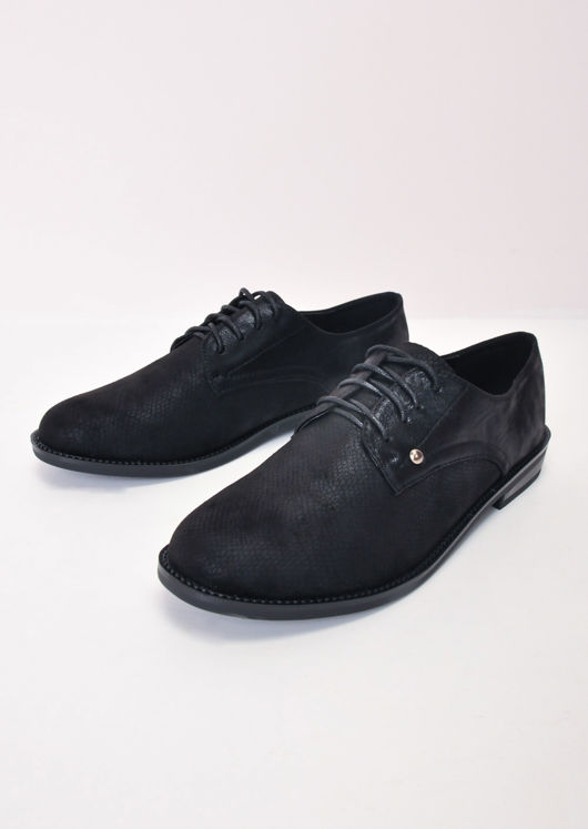 Metallic Lace Up Brogue Shoes Black