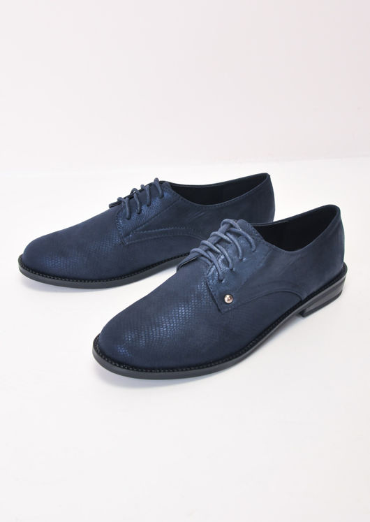 Metallic Lace Up Brogue Shoes Blue