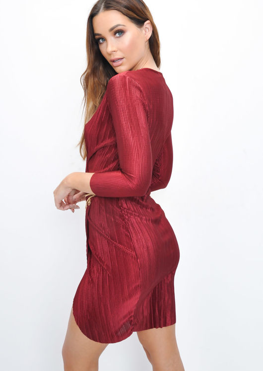 Metallic Pleated Wrap Over Skater Dress Burgundy Red