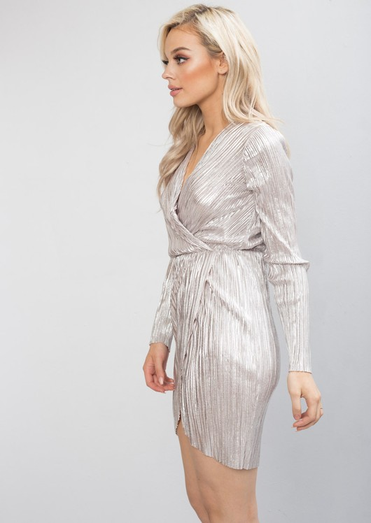 Metallic Pleated Wrap Over Skater Dress Silver