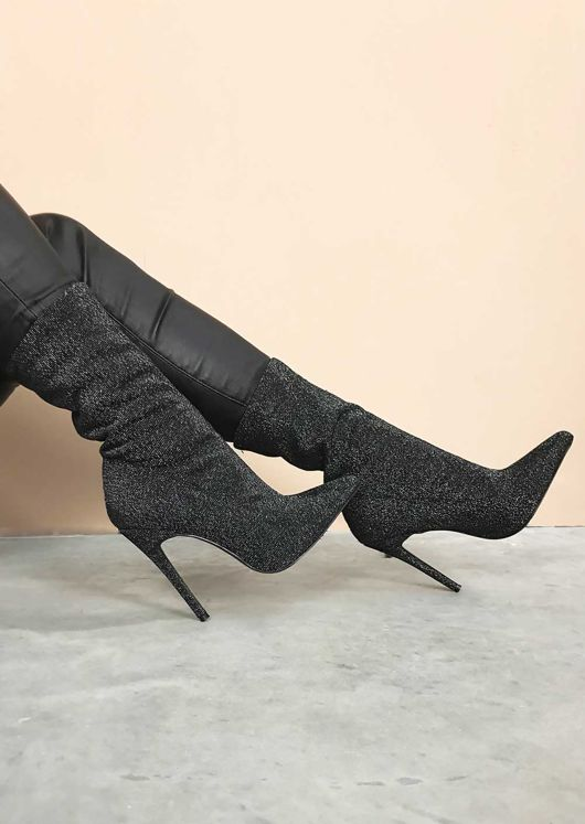 Metallic Pointed Stiletto Heeled Stretch Ankle Sock Boots Black